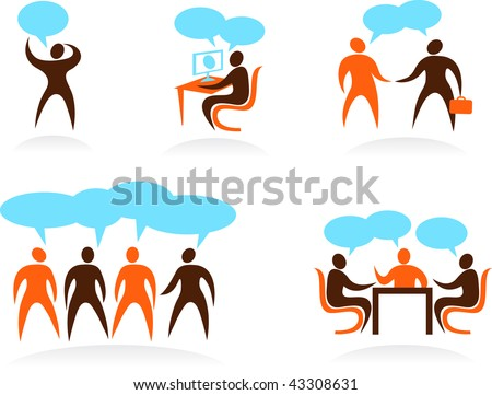 set of businessman are talking icons - stock vector