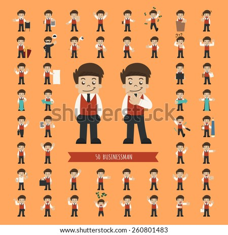 Set of businessman character , eps10 vector format - stock vector