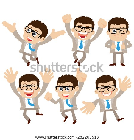 Set of businessman characters in different poses - stock vector