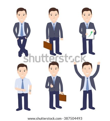 Set of businessman characters isolated on white background. Vector illustration - stock vector