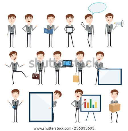Set of businessman characters poses - stock vector