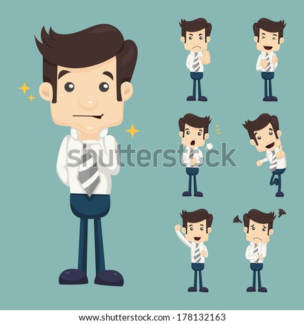 Set of businessman characters poses , eps10 vector format - stock vector