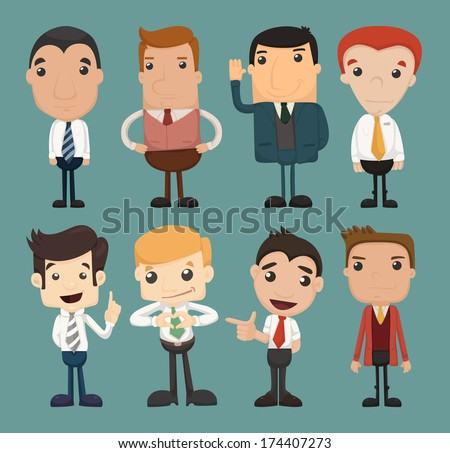 Set of businessman characters poses , office worker , eps10 vector format - stock vector