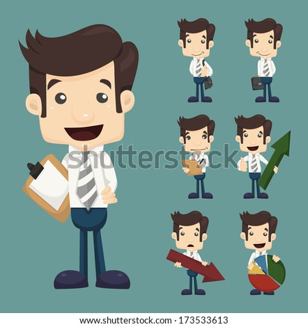 Set of businessman characters poses  with charts , eps10 vector format - stock vector