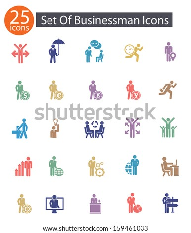 Set of Businessman icons,Colorful version,vector - stock vector