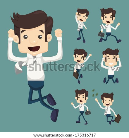 Set of businessman leaping characters poses , eps10 vector format - stock vector