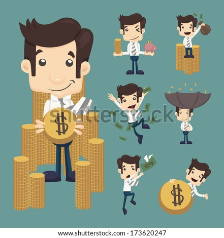 Set of businessman make money characters poses , eps10 vector format - stock vector