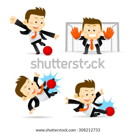 Set of Businessman playing soccer ball isolated in white  - stock vector