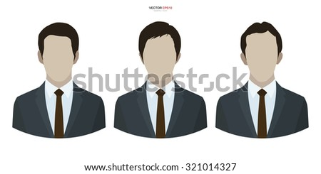 Set of businessman profile picture on white background. Vector collection of human avatar symbol. - stock vector