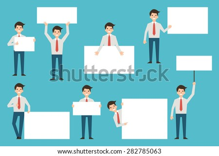 Set of businessman with blank white banner in various action. Full lenght body of character, simple and flat design.  - stock vector