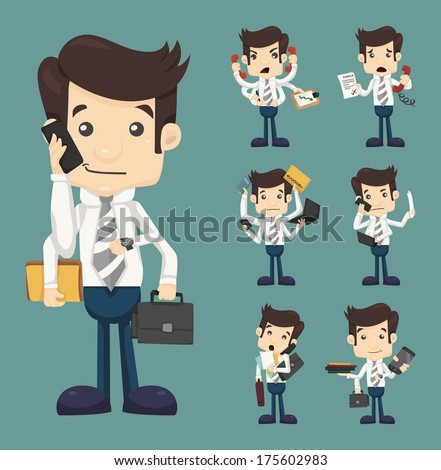 Set of businessman with many hands in elegant suit working hold notepad clipboard, cell phone, paper, document, contract , eps10 vector format - stock vector