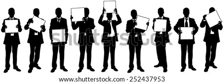 set of businessmen holding blank signs - stock vector