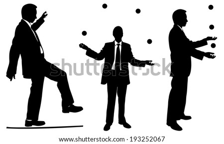 set of businessmen juggling and rope walking - stock vector