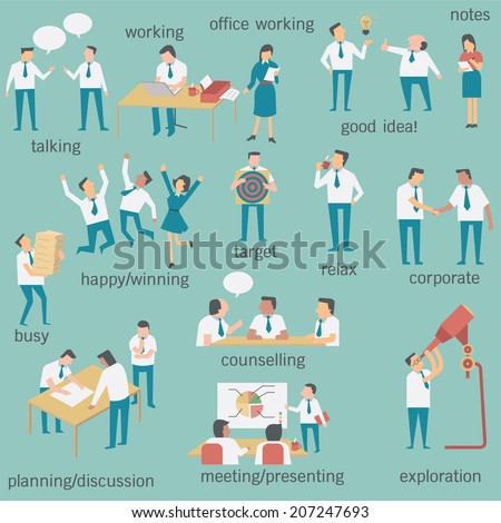 Set of businesspeople or office workers, man and woman, in various characters and activities, simple design and easy to use. - stock vector