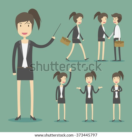 Set of businesswoman in various poses and expressing feeling and emotion - stock vector
