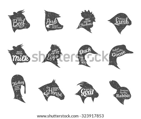 Set of butchery labels templates. Farm animals icons with sample text. Retro styled farm animals icons collection for groceries, meat stores, packaging and advertising. Vector labels design. - stock vector