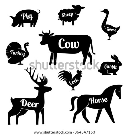 Set of butchery logo templates Cartoon farm animals with sample text. Retro styled toy farm animals black silhouettes collection for meat stores, groceries, packaging advertising. Vector butcher block - stock vector