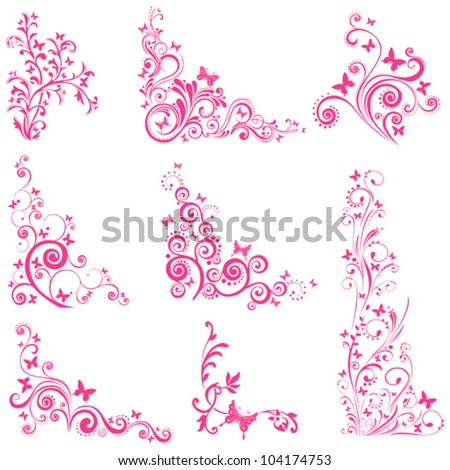 set of butterflies silhouettes isolated on white background. Collection of design elements. Vector illustration - stock vector
