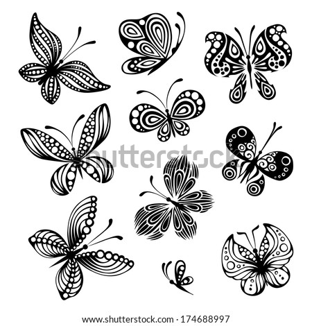 Set of butterflies. Ten black butterflies isolated on white background. Design elements. EPS 8. - stock vector