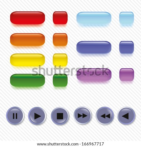 Set of buttons on a seamless grunge background. Eps.10 - stock vector
