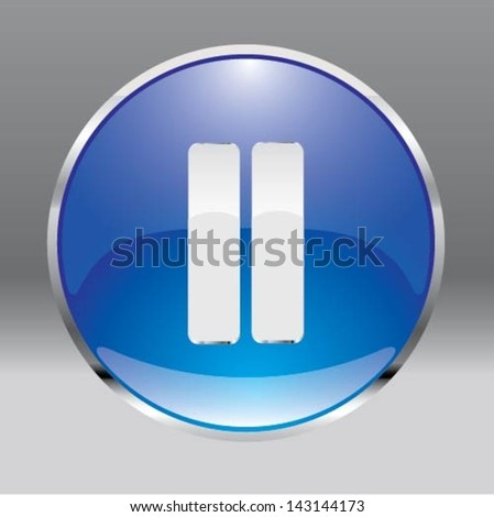 Set of buttons pause music and video - stock vector