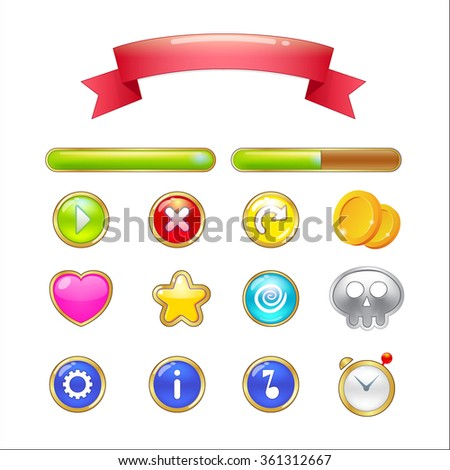 Set of buttons, progress bars, ribbon and icons for web design and game user interface isolated on white background. Vector illustration - stock vector