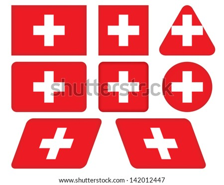 set of buttons with flag of Switzerland - stock vector