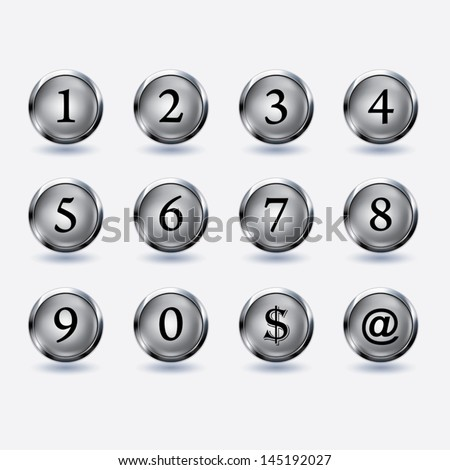 set of buttons with number - stock vector