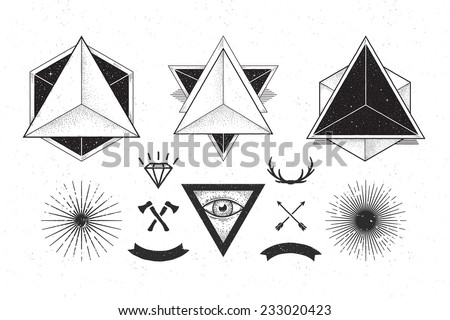 Set of C: abstract geometrics, beams, crossed tools and ribbons. - stock vector