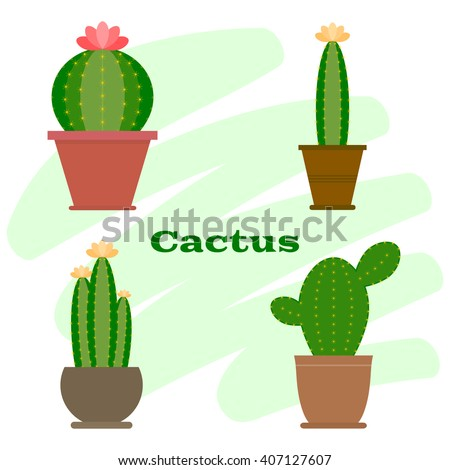 Set of cactus in flower pot. Cactus icon. Cartoon Cactus Illustration. Green and exotic cactus plant. Flat style vector illustration. - stock vector