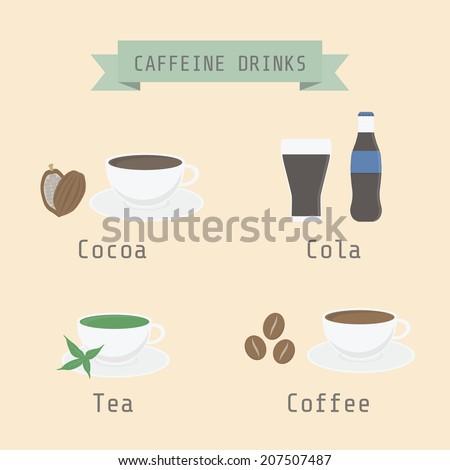 set of caffeine drink, Cocoa, Cola, Tea, Coffee, flat style - stock vector