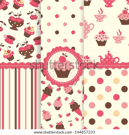 Set of cake seamless patterns - stock vector