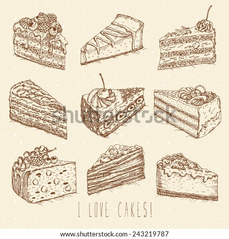 Set of cakes in doodle vintage style. One Color. Hand drawn vector illustration. - stock vector