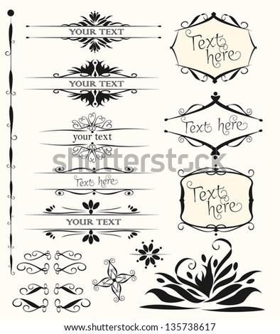 set of calligraphic design elements - stock vector