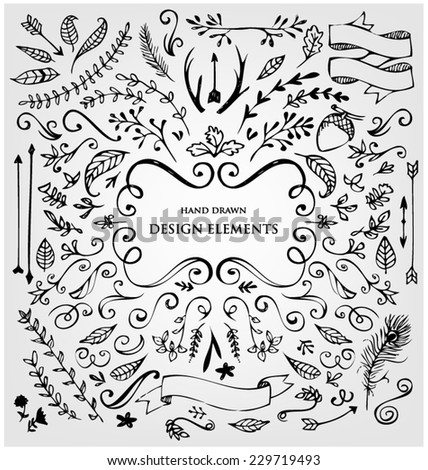 SET OF CALLIGRAPHIC DESIGN ELEMENTS. Frames, labels, ribbons, symbols. Brand & identity elements such as logo. - stock vector