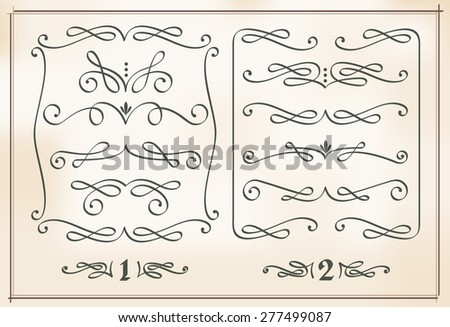 set of calligraphic design elements on vintage background, two frames with dividers, page decorations - stock vector