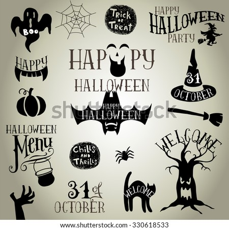 Set of Calligraphic Designs VIntage Vector silhouettes for Halloween party - stock vector