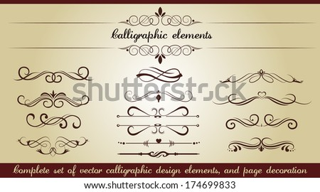 Set of calligraphic elements - stock vector