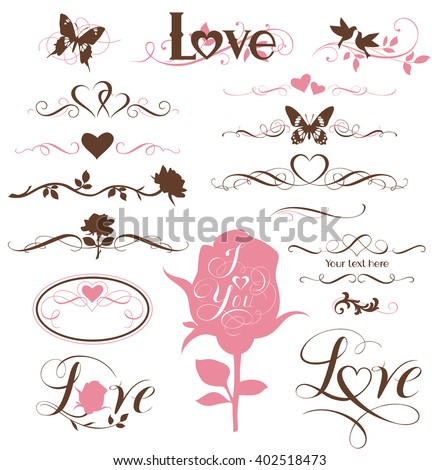 Set of calligraphic elements, decorative hearts and flowers - stock vector
