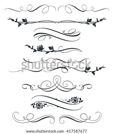 Set of calligraphic floral elements. Decorative roses silhouettes - stock vector