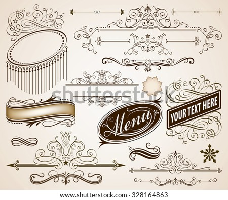 Set of Calligraphic frames and page decoration elements vector illustration. Saved in  EPS 8 file with all elements are separated, well designed for easy editing. - stock vector