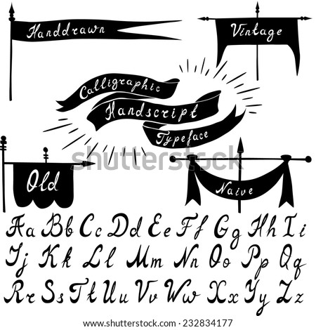 Set of calligraphic handdrawn font and vintage banners. Vector illustration. - stock vector