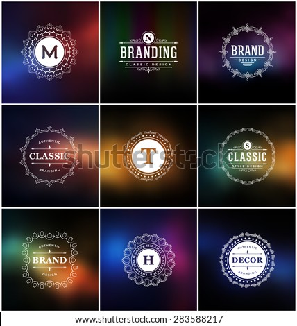 Set of Calligraphic Label Design Templates - Classic Ornamental Style. Elegant frame and typography on stylish colorful background - Ideal logos for any business with classic corporate identity visual - stock vector