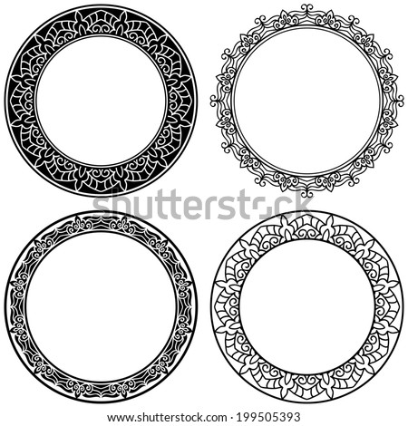 Set Of Calligraphic Vintage Ornate Elements For Design. 4 Circle Frames - stock vector