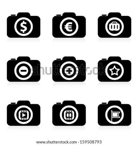 set of camera icon, vector  - stock vector