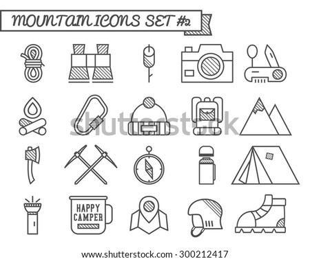 Set of Camp, travel icons, thin line style, flat design. Mountain and climbing theme with touristic tent,  axe and other equipment and elements. Isolated on white background. Vector illustration - stock vector