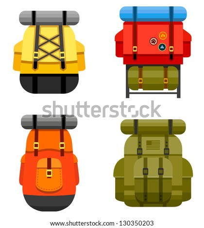 Set of camping and military backpack graphics and icons - stock vector