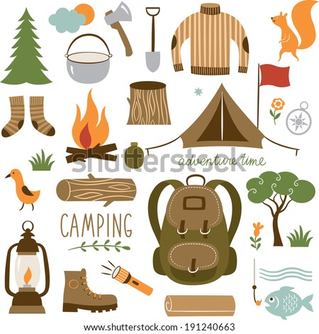 Set of camping equipment icon set  - stock vector