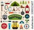 Set of camping equipment symbols and icons - stock vector