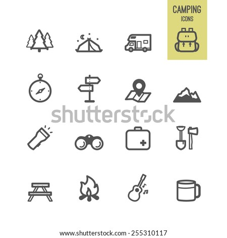 Set of camping icon. Vector illustration. - stock vector